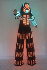 Load image into Gallery viewer, David Guetta LED Robot Suit Clothes Stilts Walker Costume Helmet Laser Gloves CO2 Jet Mach