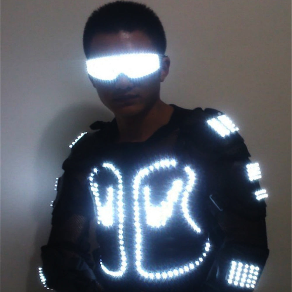 Mode LED Lumineux Robot Costume Croissant Light Up Armure Costume avec Led Lunettes pour Night Clubs Party DJ Dance Vêtements