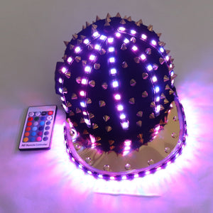 Woman Men LED Light Up Flashing Sequin Jazz Hat Cap Bow Tie Glow Rave Party Wedding Concert Bar Parade Adult Dance Show Wear