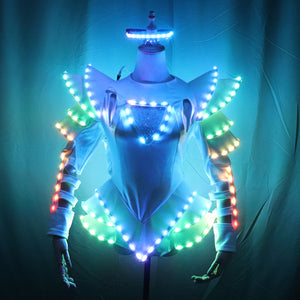 LED Female Warrior Suits Luminous Costume Suits Light Clothing for Women Ballroom Dance Glowing Dress China Ladies Accessories