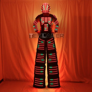 Full Color Pixel  Stilts Walker  LED Suit  LED Robot Costume Clothes Helmet Laser Gloves CO2 Gun Jet Machine