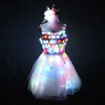 Carica l'immagine nel visualizzatore di Gallery, LED Glowing Wedding Dress Clothes Luminous Headwear Short Low Cut Group Skirt Women Ballroom Dance Clothing