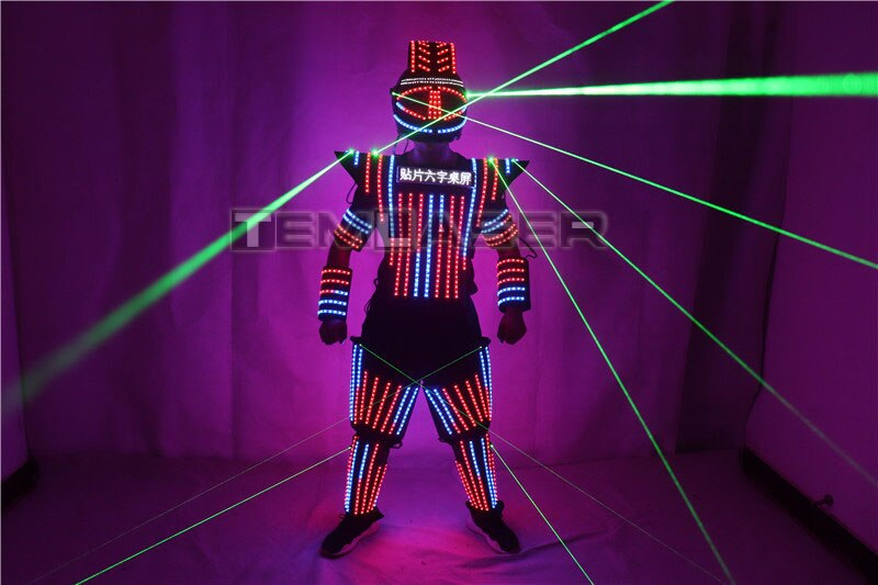 Full Color LED Robot Suit Green Laser Costume Laser Jacket Model Show Dress Clothe DJ Bar Performance