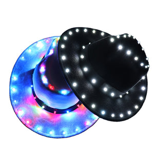 Fashion Christmas Halloween Party Jazz LED Glowing Hat Vintage Couple Cap