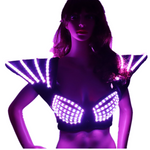 Load image into Gallery viewer, RGB LED Bra Colorful Shoulder Dance Costumes Luminous Vest for Ballroom Bar Dj Disco Party Event Singer Sexy Wears