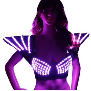 RGB LED Bra Colorful Shoulder Dance Costumes Luminous Vest for Ballroom Bar Dj Disco Party Event Singer Sexy Wears