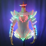 Load image into Gallery viewer, LED Female Warrior Suits Luminous Costume Suits Light Clothing for Women Ballroom Dance Glowing Dress China Ladies Accessories
