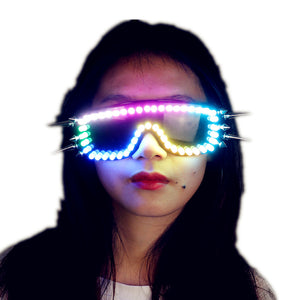 Pixel Smart LED Goggles Full Color Laser Glasses with Pads Intense Multi-colored 350 Modes Rave EDM Party Glasse