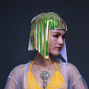 Future Space Female Wig Headgear Soldier's Cool Reflective Wig Bar GOGO Dance Wear Wavehead Mirror Wig Customize Colors