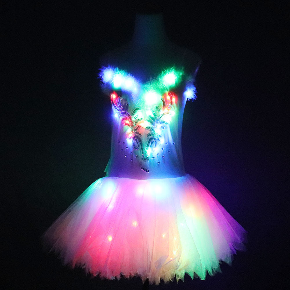 Classic Adult Camisole Strap Leather Ballet LED Skirt Tutu White Swan Lake LED Luminous Costume Light Up Luminous Clothes