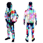 Carica l'immagine nel visualizzatore di Gallery, Unisex LED Flash Light Up Rave Jacket Sport Outwear Party Costume Fancy Long Sleeve Zipper Hooded Pocket Glowing Clothes