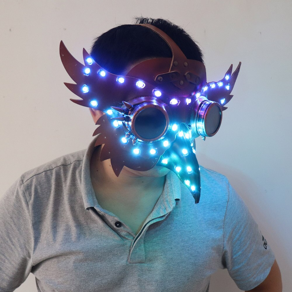 Full Color LED Luminous PU Leather Steampunk Mask Women Men Punk Wings Rivets Halloween Cosplay Gothic Mask Props