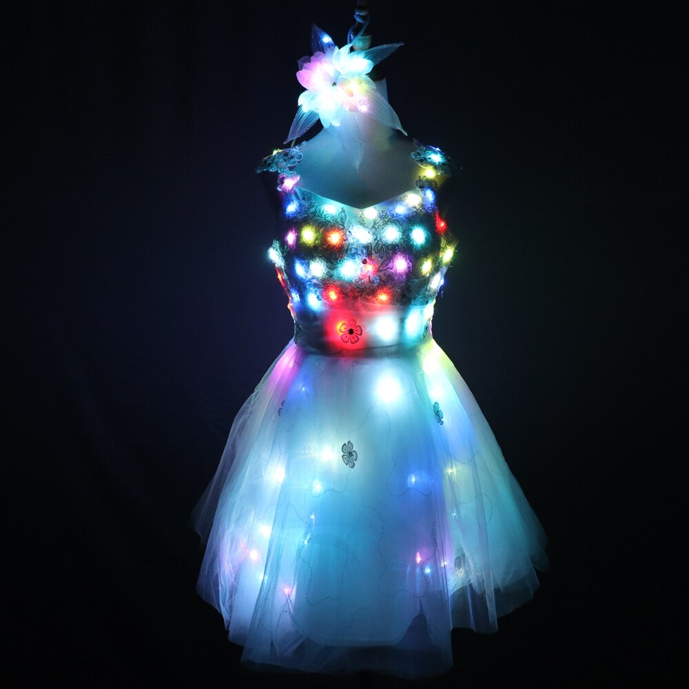 LED Glowing Wedding Dress Clothes Luminous Headwear Short Low Cut Group Skirt Women Ballroom Dance Clothing