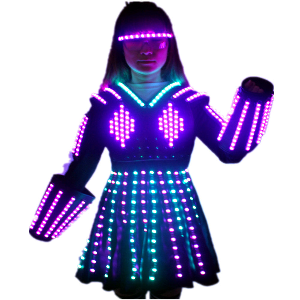 LED Robot Suit Costume Laser Glove Canvas Fashion Glowing Wedding Dress Clothes Luminous Headwear Short Skirt