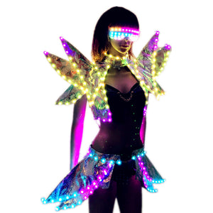 Full Color LED Costumes Colorful Light RGB Women Skirt DJ Bar Wears Led Ballroom Dance Bra Programming Sexy Dress