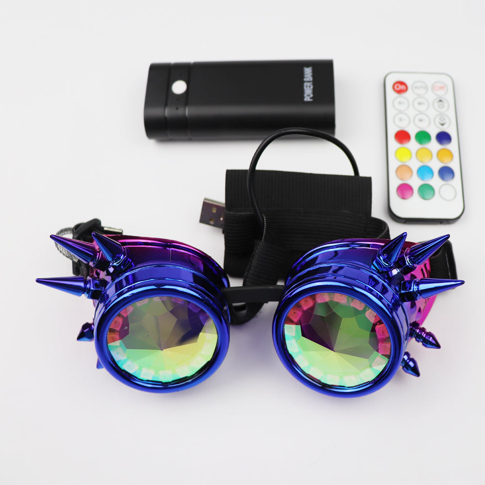 Full Color LED Glasses Pixel Laser Goggles with Pads Intense Multi-colored 350 Modes Rave EDM