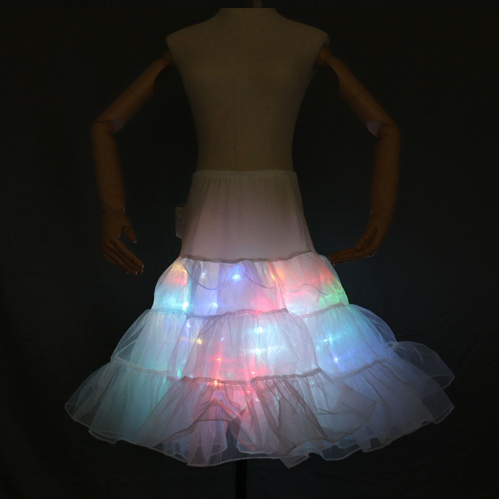 Colorful LED Flashing T-Shirt Light Up Down Music Party Equalizer Unisex LED Short Sleeve Ballet TuTu Skirt