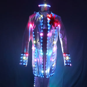 Full Color Smart LED Court Suit Europe Style Court Marshal Clothing Groom Wedding Mens Suits Light EDM Music Party Stage Singer