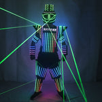 Load image into Gallery viewer, Full Color LED Robot Suit Green Laser Costume Laser Jacket Model Show Dress Clothe DJ Bar Performance
