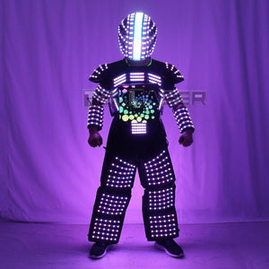 LED Robot Suit Stage Dance Costume Tron RGB Light up Stage Suit Outfit Jacket Coat with full-color smart display