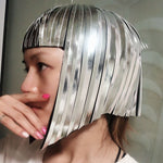 Cargar imagen en el visor de la galería, Future Space Female Wig Headgear Soldier's Cool Reflective Wig Bar GOGO Dance Wear Wavehead Mirror Wig Customize Colors