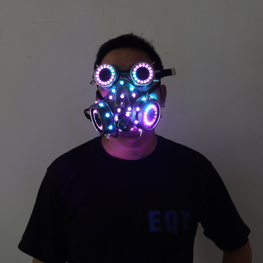 Full Color LED Lighting Steampunk Glasses Gas Masks Goggles Cosplay Bar Props Gothic Anti-Fog Haze Men and Women Mask