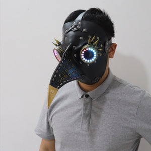 Halloween Gothic Black PU Beak LED Mask Steampunk Plague Doctor Retro Cool Bird Mouth Full Color Luminous Mask Masquerade Party