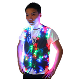 Colorful Led Luminous Vest Ballroom Costume Jacket DJ Singer Dancer Performer Stage Wear Waiter Clothes