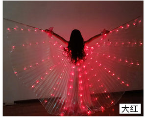 Kids LED Isis Wings Sticks Belly Dance Wing Stage Performance Girls Multi Colors Wings Led Butterfly Light Up 360 Degrees