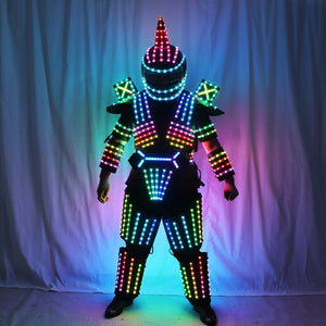 Full Color LED Robot Suit Stage Dance Costume Tron RGB Lighted Luminous Outfit Team Wears Cosplay Dress Vest Disco