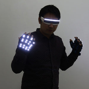 LED Gloves Flashing Skeleton Stage Props Flash Gloves for Holiday Party Events Shows
