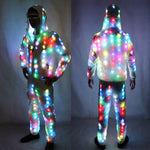 Load image into Gallery viewer, Unisex LED Flash Light Up Rave Jacket Sport Outwear Party Costume Fancy Long Sleeve Zipper Hooded Pocket Glowing Clothes