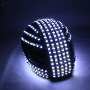 White Strobe LED Helmet LED Luminous Costumes Wireless Remote Control  Robot Laser Dance Performances