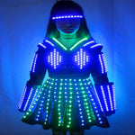 Load image into Gallery viewer, LED Robot Suit Costume Laser Glove Canvas Fashion Glowing Wedding Dress Clothes Luminous Headwear Short Skirt