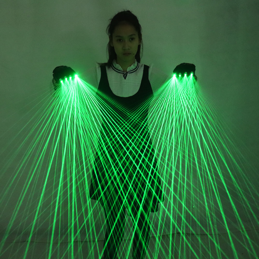 2 In 1 Multi-line Green Laser Gloves LED Laser Gloves Luminous Glasses, for LED Robot Suit Luminous Dress Bar Party Music Festiv