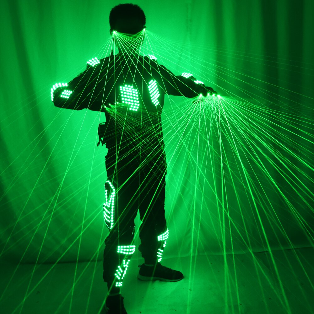 Green Laser Armor Suit  LED Glow Vest Waistcoat Laser Gloves and Glasses  For Bar EDM Party Performances
