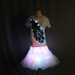 Load image into Gallery viewer, Colorful LED Flashing T-Shirt Light Up Down Music Party Equalizer Unisex LED Short Sleeve Ballet TuTu Skirt