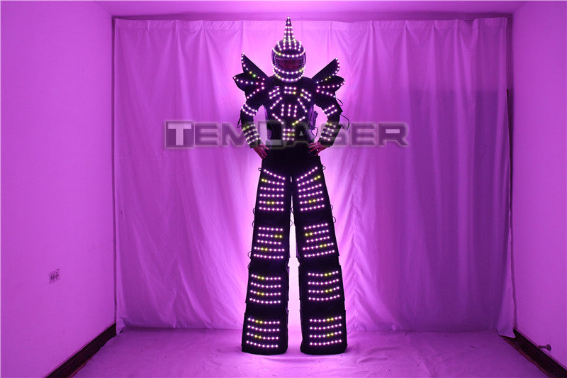 Full Color Pixel LED Robot Costume Clothes Stilts Walker Costume LED Suit Costume Helmet Laser Gloves