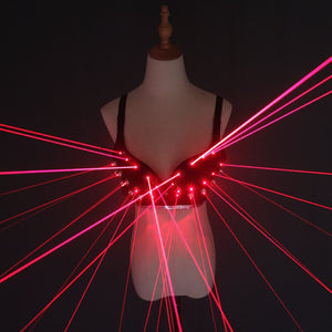 Fashion Red Laser Luminous Sexy Lady Bra Laser Show Stage Costumes For Singer Dancer Nightclub Performers