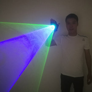 Blue Green Handheld Laser Cannon Rotating gloves  LED gyro palm light DJ Dancing Club Pub Party Laser Show