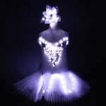 Load image into Gallery viewer, Classic Adult Camisole Strap Leather Ballet LED Skirt Tutu White Swan Lake LED Luminous Costume Light Up Luminous Clothes