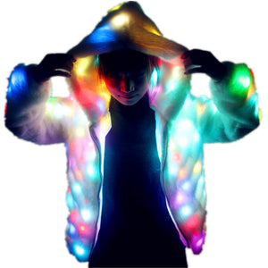 Women Faux Fur Led Light Coat Christmas Costumes Cosplay Fluffy Fur 6xl Jacket Outwear Winter Warm Festival Party Overcoat