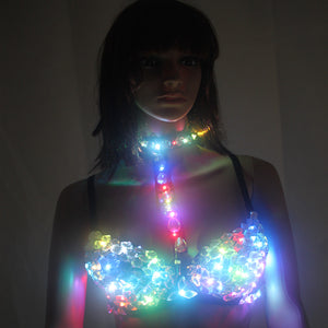 Sexy LED Bra Stage Bra Colorful Flash LED Glow Diamond Underwear for Singer Dance Punk Club Stage Wear