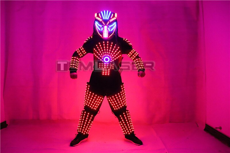 RGB Colorful Led Luminous Robot Suit with LED Helmet Illuminated LED Growing Light Performance Stage Costume Clothes