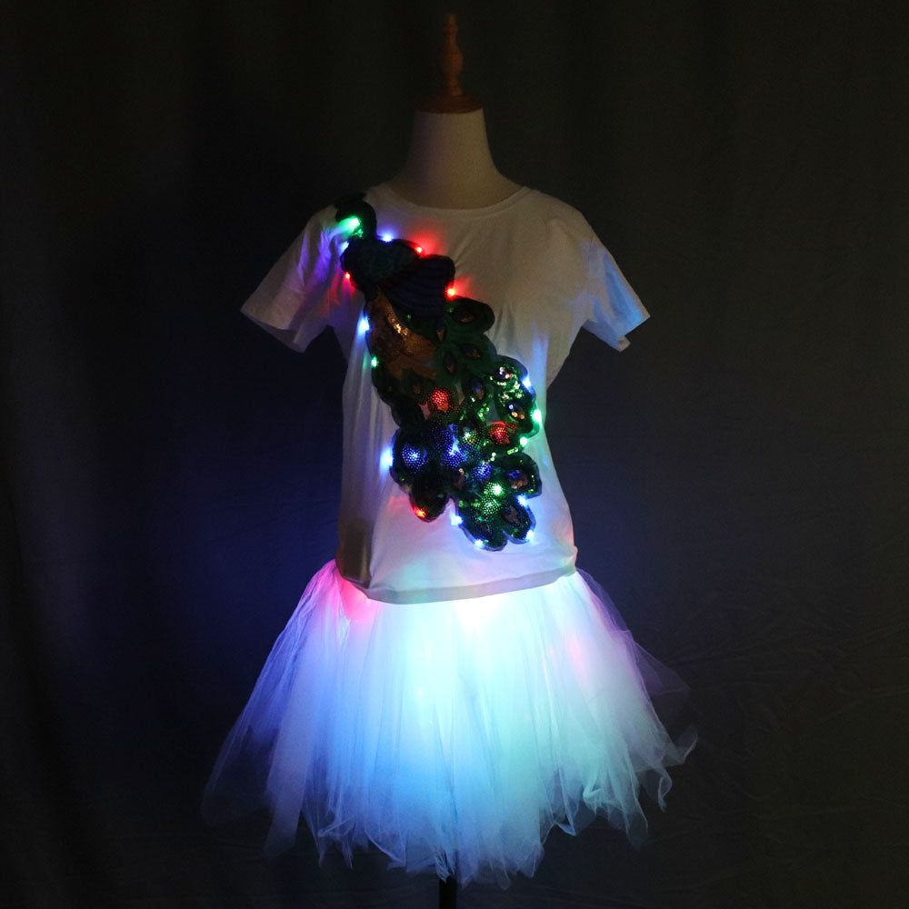Light Up LED Girls Adult Clothes Shiny Star Tutu Skirt Princess Party Tutus Tulle Pettiskirt Ballet Dance Wear