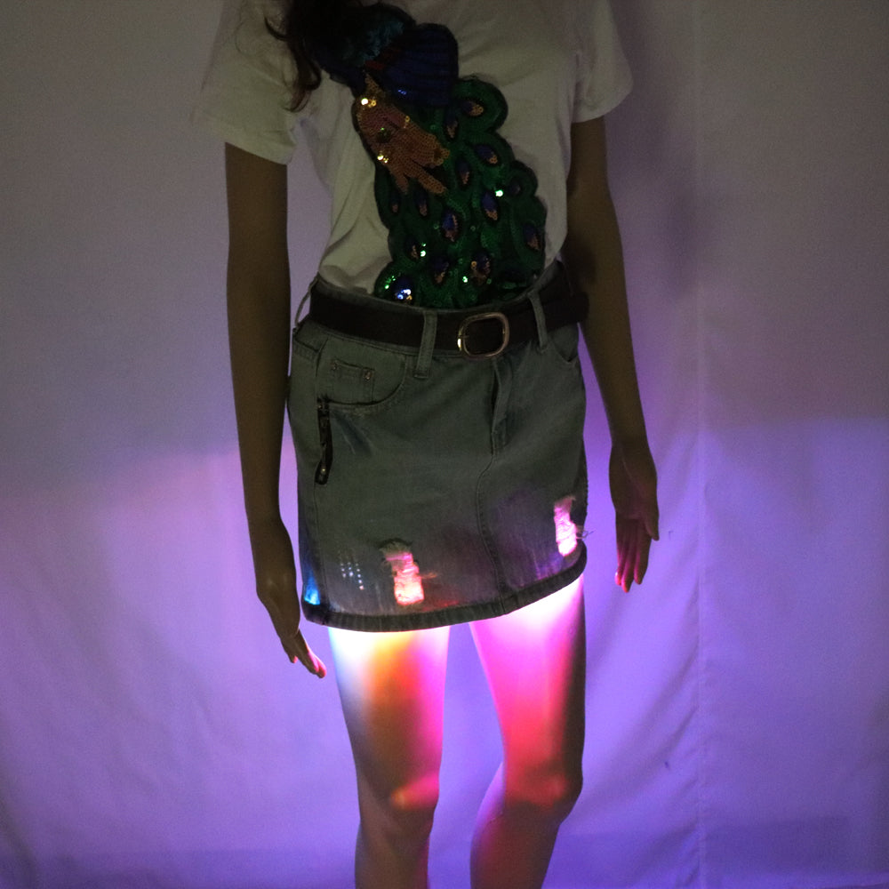 Fashion Mini LED Sexy Skirt Party Nightclub Mini Skirts Fashion Female Fitted Tight All-over Skirt
