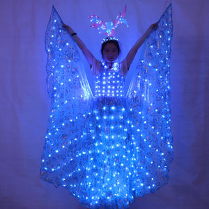 LED Luminous Wings Ballet Costume Fluorescent Butterfly Dance Cloak Dance Costume Belly Dance Cloak Prop