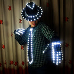 Load image into Gallery viewer, LED Costume Clothes Luminous Jazz Hat with Light Tie LED Gloves LED Suit for Michael Jacket Cosplay Costume
