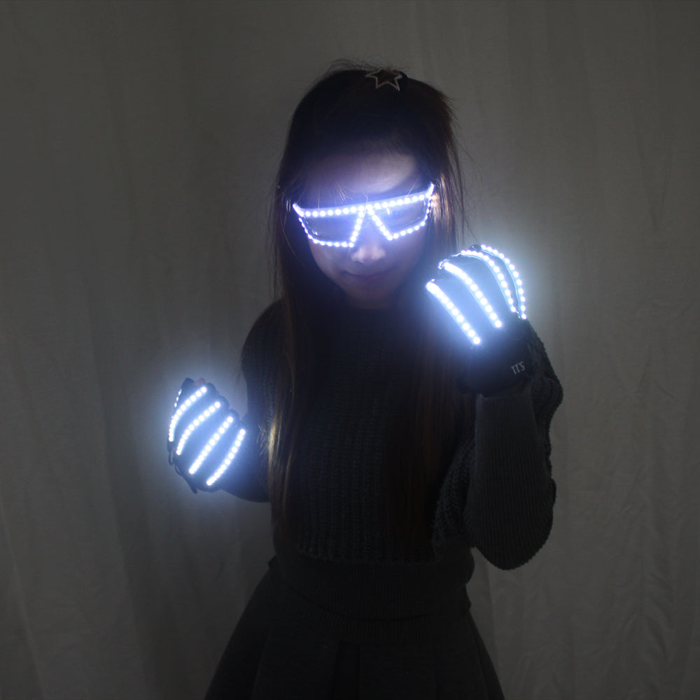 LED Light Emitting Luminous Glasses Gloves Stage Props for Children Birthday Gift Laser Stage Props Party Supplies