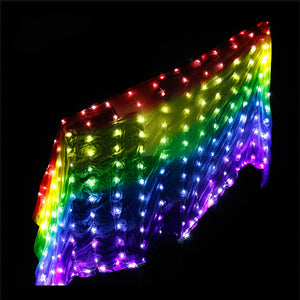 Rainbow Colored Stage Performance Prop Silk Belly Dance Costume Accessories Veils LED Veil